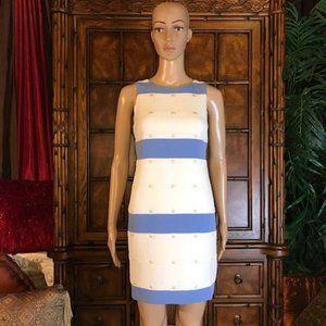 Vince Camuto Jacquard Stripe Gold Dot Shift Dress